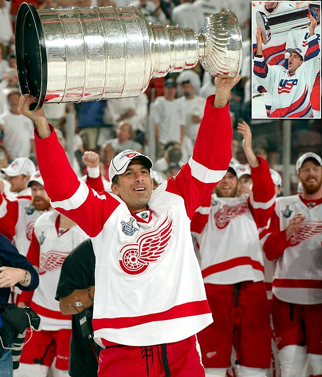 "Chelios lifted his first Stanley Cup with Montreal in 1986, and went on to hoist it twice more with Detroit (2002, 2008) after a nine-year stint with Chicago. Remarkably durable, he became the second oldest player in NHL history during the 2009-10 season, when he was called up from the AHL's Chicago Wolves to play for the Atlanta Thrashers at age 48. ""He's the best American-born player ever,"" former Hawks teammate Eddie Olcyzk said to the <italics>Chicago Tribune</italics>."