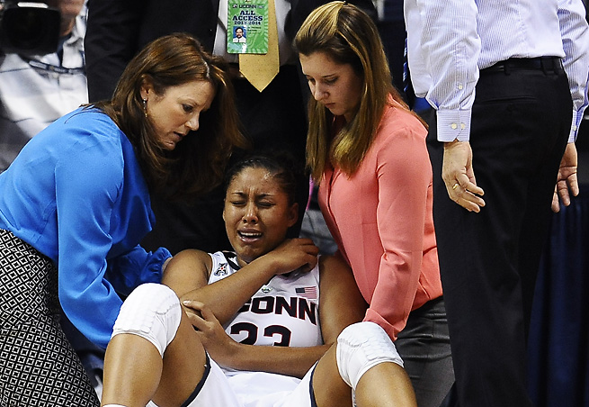 Kaleena Mosqueda-Lewis went down with an injury midway through UConn's win over Stanford.
