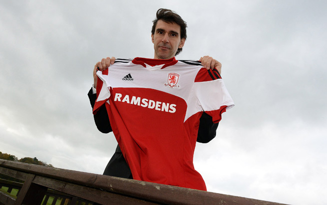 Aitor Karanka poses with a Middlesbrough jersey after being unveiled as the club's new manager on Wednesday.