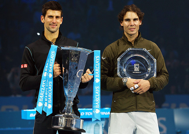 No. 2 Novak Djokovic (left) and No. 1 Rafael Nadal have played 39 times, an Open era record.