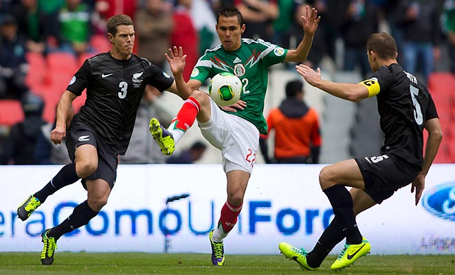 Paul Aguilar scored Mexico's first goal against New Zealand at the Azteca Stadium on Wednesday.
