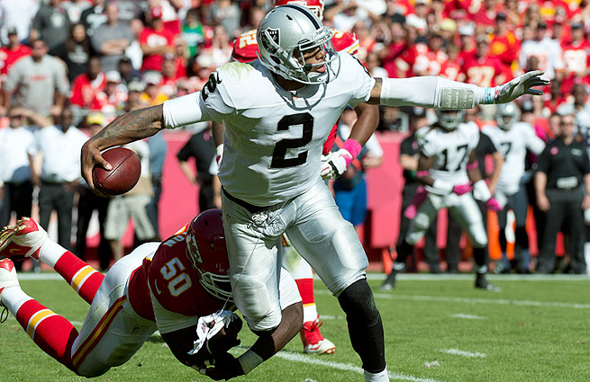 In his first year as an NFL starter, Terrelle Pryor leads all quarterbacks with 63 rushing yards per game.
