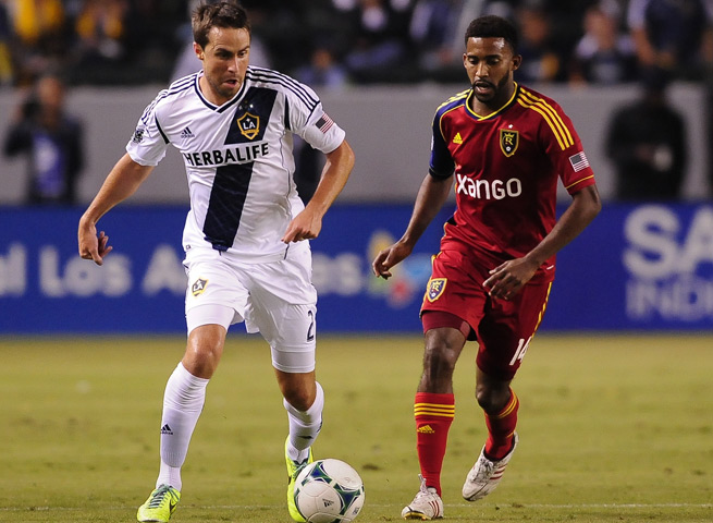 LA Galaxy defender Todd Dunivant, left, signed a multiyear extension with the club on Thursday.