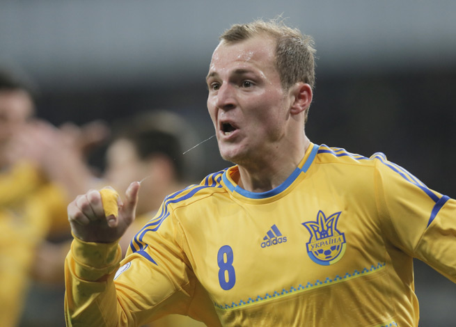 Ukraine's Roman Zozulya celebrates after giving his nation a 1-0 lead over France in the first leg of their World Cup qualifying playoff in Kiev.