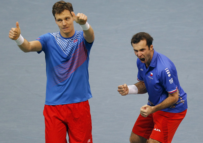 Tomas Berdych (left) and Radek Stepanek advanced to the doubles final of the Davis Cup.