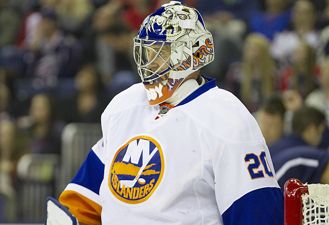 The 38-year-old Nabokov was playing Saturday night for the first time in four games.
