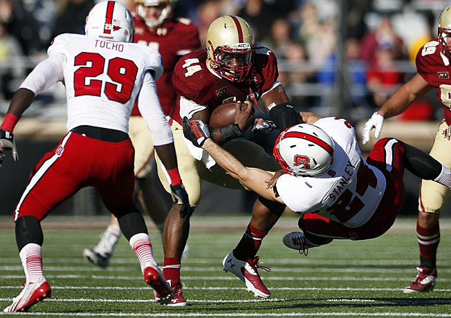 Boston College tailback Andre Williams (44) ran for an ACC-record 339 rushing yards against NC State.