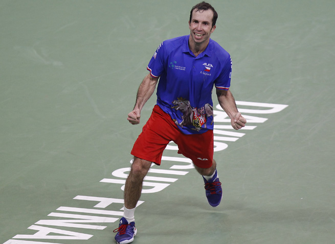 Radek Stepanek celebrates his victory over Dusan Lajovic, which clinched the Davis Cup title for the Czech Republic.