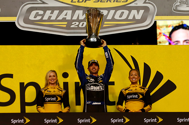 Jimmie Johnson had a 28-point lead in the standings over Matt Kenseth going into Sunday's finale, and claimed the title by finishing in 9th.