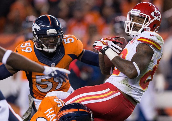Try as they might, Dwayne Bowe and the Chiefs couldn't keep up with Denver's offense in a 27-17 loss.