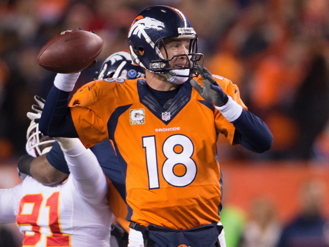 A sprained ankle slowed, but couldn't stop, Peyton Manning as he led the Broncos to a 27-17 win.