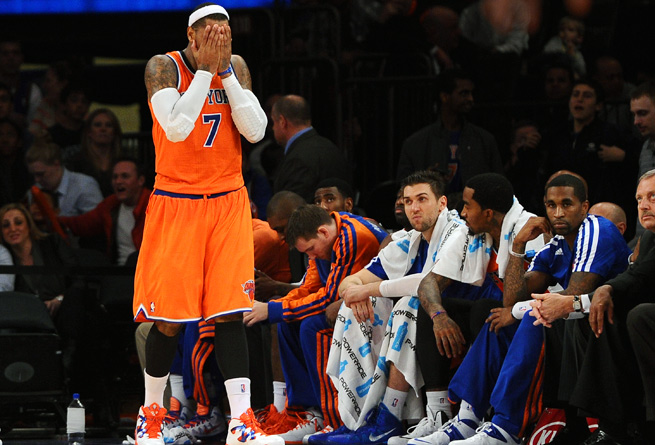 Tough to watch: Carmelo Anthony and the Knicks have fallen to 3-6, including 1-5 at home.