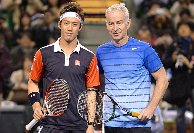 Kei Nishikori beat John McEnroe 1-6, 6-4 (10-7) in a charity match benefiting the victims of the Japan earthquake.