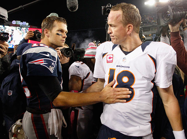 "In the first matchup following Manning's move from Indianapolis to Denver, Brady's Patriots rolled to a 31-21 victory over the Broncos. Brady finished 23-of-31, with 223 yards passing and two touchdowns (one passing, one rushing), moving to 9-4 all time against Manning. ""Nobody I'd rather have than Tom Brady,"" Patriots coach Bill Belichick said after the game. ""But Manning's a great player."" Manning, who sat out the entire 2011 season with a neck injury, went 31-of-44 for 345 yards and three touchdowns."