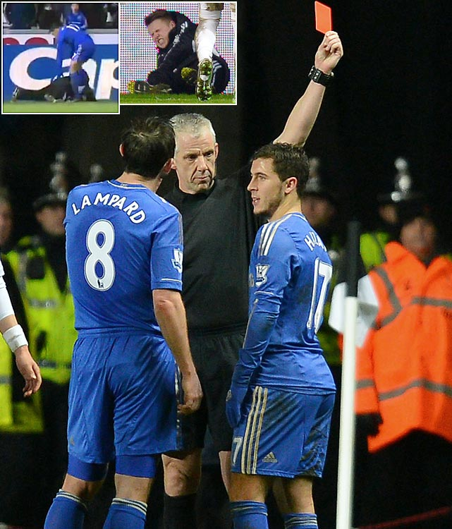 Hazard, a Belgian midfielder for Chelsea, made headlines in January when he was sent off in a semifinal match for kicking a ballboy. The boy was lying on the ball in an apparent effort to waste time, and Hazard kicked him in his midsection in an attempt to dislodge the ball. Hazard was given a red card and Chelsea went on to lose 2-0. Hazard said later on television that he and the ball boy apologized to one another. The midfielder served a three-game suspension.