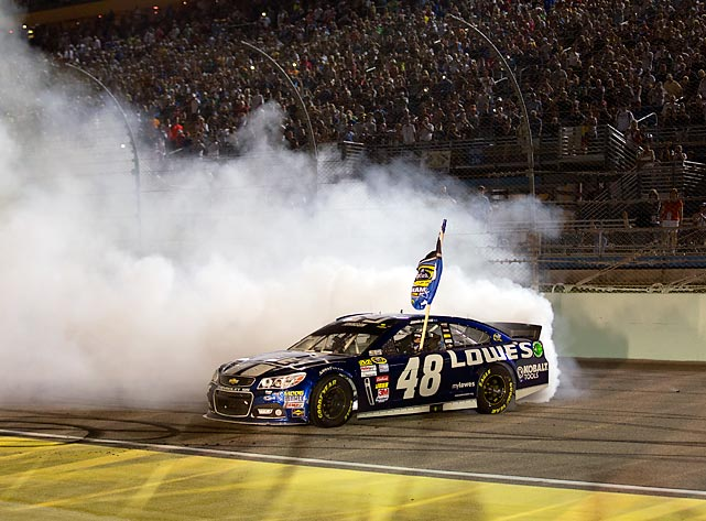 Jimmie Johnson spins out after winning the Chase for the Cup title -- his sixth career championship.