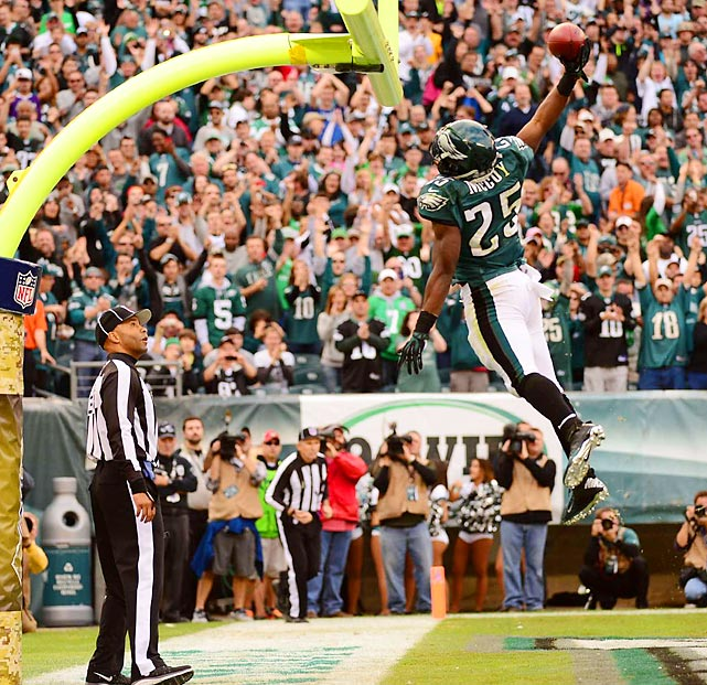Eagles running back LeSean McCoy dunks the ball through the uprights after scoring against the Redskins. McCoy had 150 yards from scrimmage and two scores on the day.
