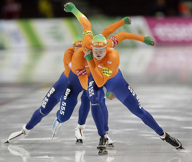 Members of the Netherlands pursuit team skate during competition at the World Cup speedskating event in Utah. The Netherlands won the race and set a new world record.