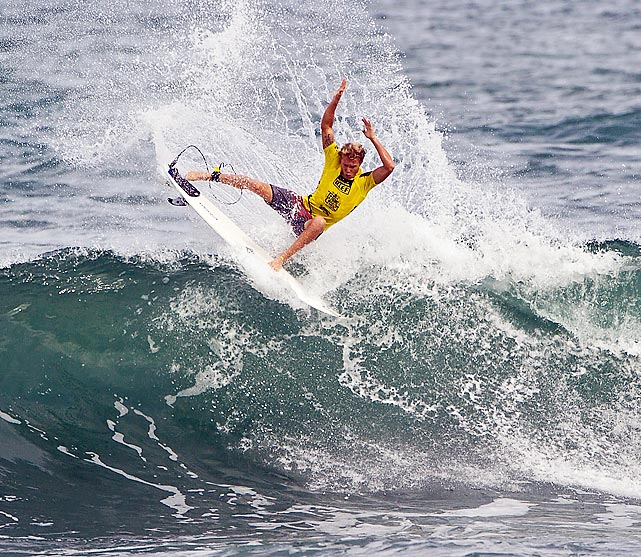 Tanner Hendrickson competes during the round of 128 at the Reef Hawaiian Pro in North Shore, Hawaii.