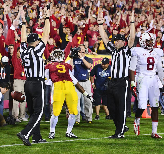 USC wide receiver Marqise Lee celebrates after scoring a two-point conversion. USC upset 4th-ranked Stanford 20-17.