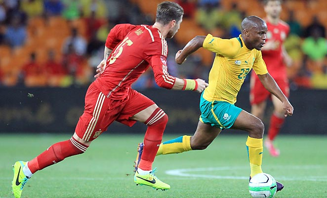 Returning to the country of their 2010 World Cup triumph, Spain fell to South Africa by a 1-0 scoreline.