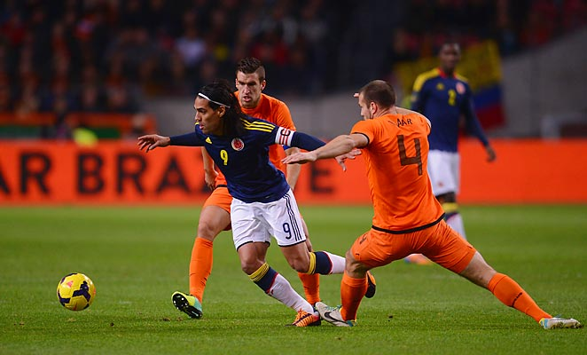 The Netherlands were able to contain Colombia's Radamel Falacao in the sides' scoreless draw.