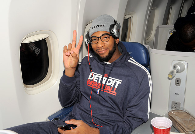 Andre Drummond relaxes with some music as the Pistons travel to London for a game against the Knicks.