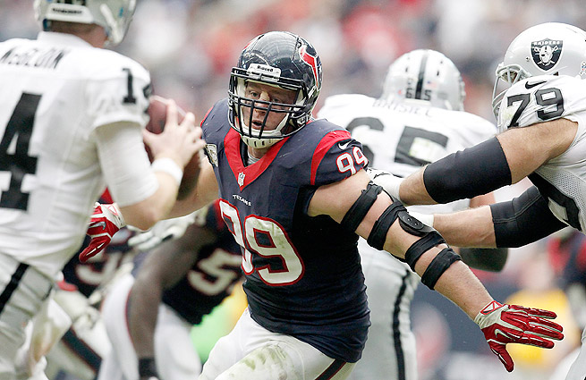 J.J. Watt had two sacks and five tackles in the Texans' loss to the Raiders in Week 11.