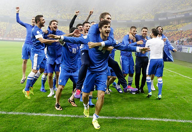 The Greeks dominated Romania with an unexpected offensive flurry in a 3-1 victory in their home leg. They needed no such fireworks to get the job done in Romania. Even as Romania kept possession of the ball for nearly 70 percent of the teams' second-leg match in Bucharest, the Greek defense held strong, and secured the country's passage to the 2014 World Cup with a 1-1 draw and 4-2 win on aggregate.