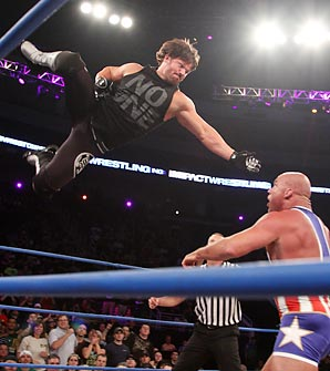 TNA World Champion A. J. Styles is known for his acrobatic performances; here with Kurt Angle.