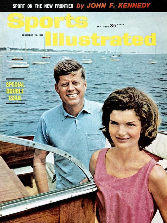 President-elect John F. Kennedy poses with wife Jackie Kennedy aboard their yacht during a photo shoot on Cape Cod in 1960.