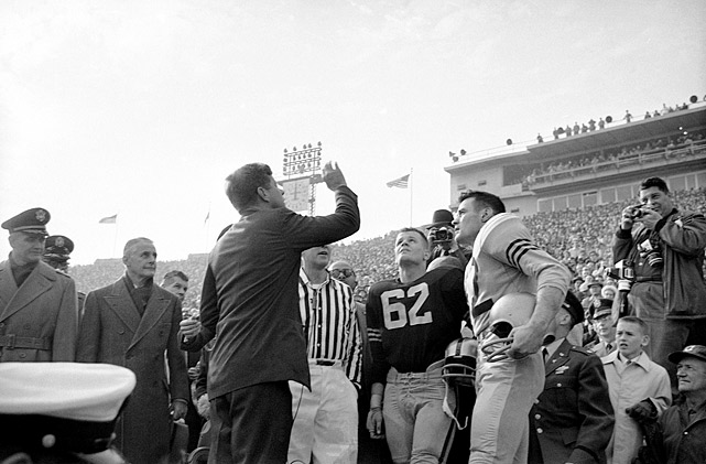 President John F. Kennedy handles the coin toss prior to the Army-Navy football game at Philadelphia Municipal Stadium (later named after Kennedy) on Dec. 2, 1961.