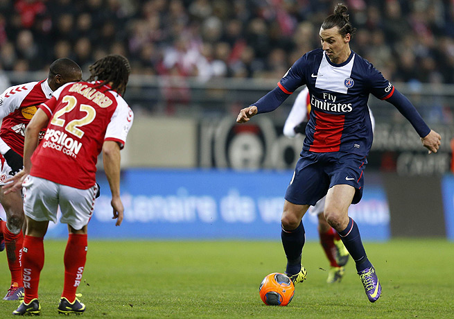 Zlatan Ibrahimovic (right) capped Paris Saint-Germain's victory with a goal in the 91st minute.