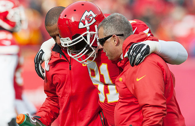 The Chiefs could be without Tamba Hali (top) and Justin Houston for their Week 13 matchup with the Broncos.