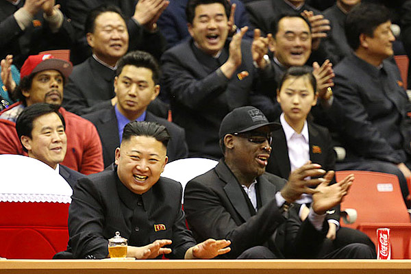 "International diplomacy has rarely witnessed a scene as bizarre as Rodman, the former NBA eccentric, schmoozing with Kim Jong Un, the 29-year-old nuke-rattling leader of North Korea. The U.S. State Department decried Rodman's overtures to a notorious tyrant, but The Worm insisted that North Korea is ""not as bad as you think"" and Kim is ""an awesome guy"". Oh."