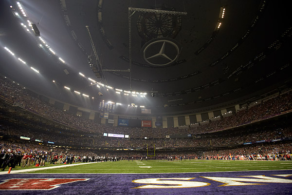 With a commanding 28-6 lead over the 49ers to open the second half of Super Bowl XLVII, it appeared as though the Ravens would cruise to victory. That is, of course, until an electrical relay device meant to protect the Mercedes-Benz Superdome failed, leaving both teams (and the 71,024 in attendance) in the dark. For 34 minutes, lights flickered on and off; players stretched and commiserated on the dimly-lit field. Once power was restored, the lights switched on for the 49ers as well: Baltimore saw its lead evaporate as San Francisco came within a failed goal-to-go possession in the game's waning moments, nearly depriving the Ravens organization of its second Super Bowl in franchise history.