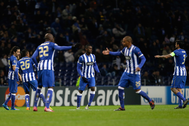 Porto players celebrate Jackson Martinez's equalizer in Tuesday's 1-1 Champions League draw with Austria Vienna.
