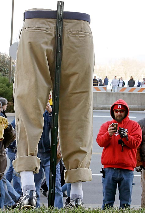 Outside Beaver Stadium there once stood a statue of long-time Penn State football coach Joe Paterno. Now there is an homage to <italics>The Wrong Trousers</italics>.