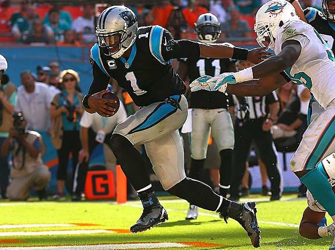 Cam Newton rushed for 51 yards and a TD vs. Miami, and should have a similar game against the Bucs.