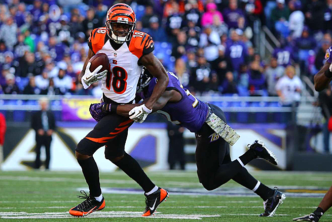A.J. Green had 151 receiving yards versus the Ravens in Week 11, but was held to only seven yards against the Browns.