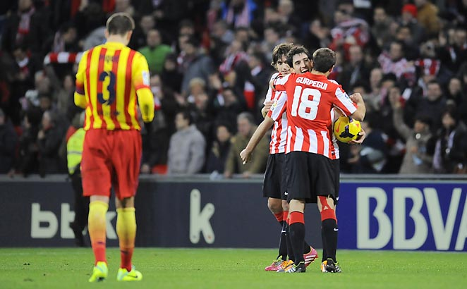 Athletic Bilbao sent Barcelona to its second-straight loss after falling midweek to Ajax in the Champions League.