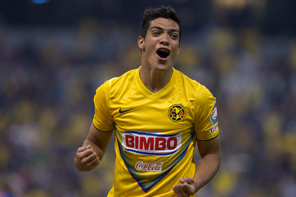 Raul Jimenez celebrates his goal that helped Club America reach the semifinals of the Mexican Apertura.