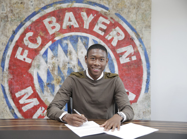 Austrian defender David Alaba signed an extension with Bayern Munich through 2018.