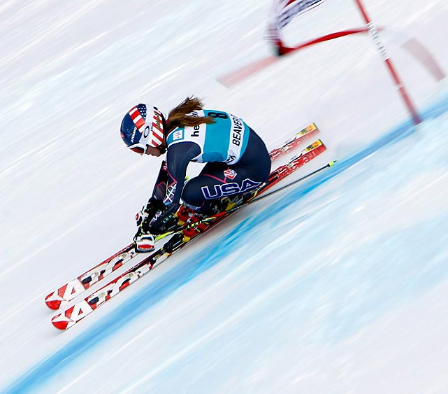 American Mikaela Shiffrin flies past a gate during her run in the giant slalom at the Audi FIS Alpine Ski World Cup at Beaver Creek, Colo., on Sunday. Shiffrin took second, her first podium finish in the giant slalom, and narrowly missed out on victory by .09 seconds.