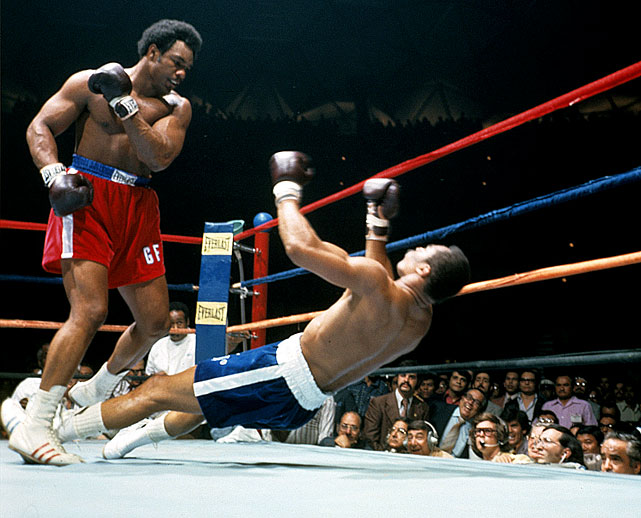 "Norton was blown out in two rounds by Foreman in a title bid on March 26, 1974 in Caracas, Venezuela. When Norton was asked prior to the fight if he was awed by Foreman's power, Norton replied: ""Awed? No. I respect it, but it will just make me fight a better fight. If I was awed, I wouldn't fight at all."" Click here for Neil Leifer's fine art photography."