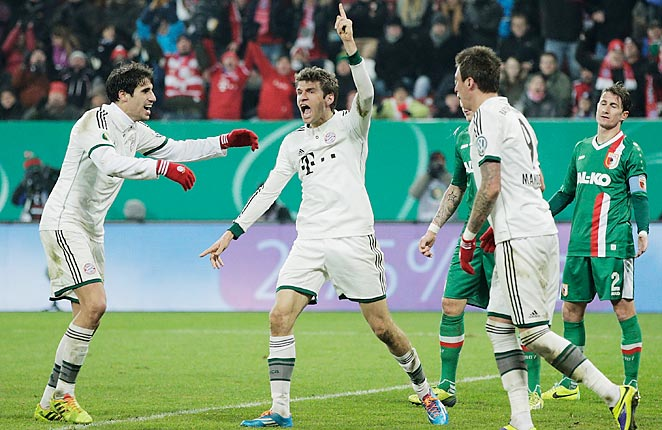 Thomas Muller scored Bayern Munich's second goal as they moved on in the German Cup on Wednesday.