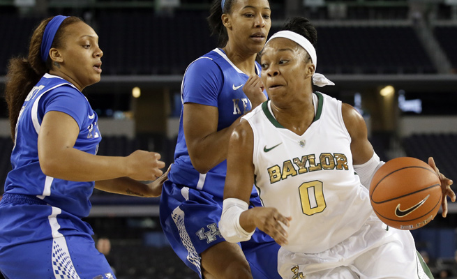 Baylor's Odyssey Sims (0) scored 47 points before fouling out in a four-overtime loss to Kentucky on Friday.