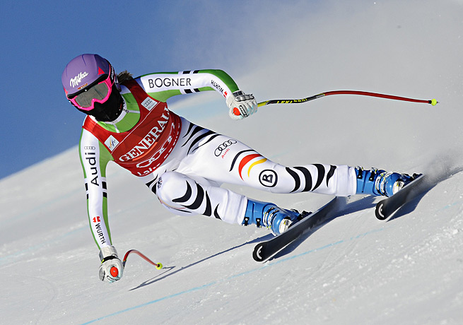 Maria Hoefl-Riesch won her second downhill in a row to grab the overall World Cup standings lead.