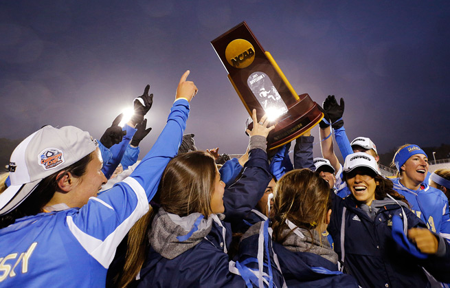 UCLA's women's soccer team celebrates its first NCAA championship after beating Florida State 1-0 in overtime on Sunday.