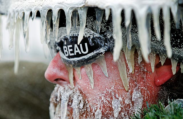 """Green Bay Packers superfan Jeff Kahlow braves the cold in his elaborate """"Frozen Tundra"""" costume at the Packers' game against the Atlanta Falcons on Sunday at Lambeau Field. Despite trailing 21-10 at halftime, Green Bay rallied for a 22-21 victory amid single-digit temperatures."""